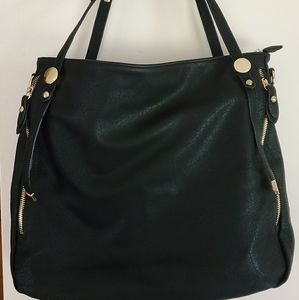Faux Black Leather Black Hobo Bag w/Gold Accents